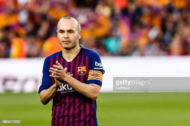 Andres Iniesta from Spain of FC Barcelona during the La Liga football match between FC Barcelona v Real Sociedad at Camp Nou Stadium in Spain on May...