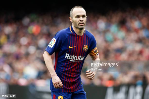 08 Andres Iniesta from Spain of FC Barcelona during the La Liga match between FC Barcelona v CF Valencia at Camp Nou Stadium on 14 of April of 2018...