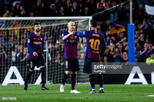 08 Andres Iniesta from Spain of FC Barcelona giving the captain bracelet to 10 Leo Messi from Argentina of FC Barcelona during the Andres Iniesta...