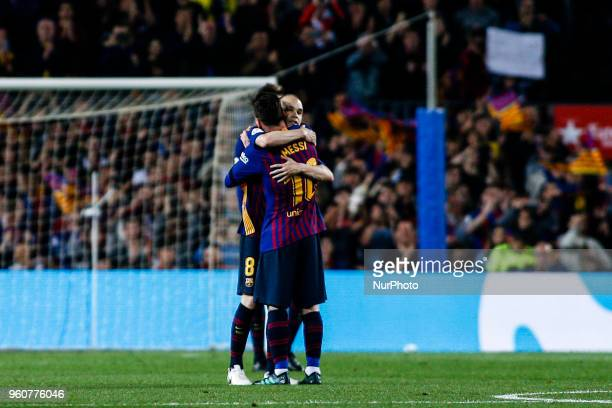 08 Andres Iniesta from Spain of FC Barcelona hugging 10 Leo Messi from Argentina of FC Barcelona during the Andres Iniesta farewell at the end of the...