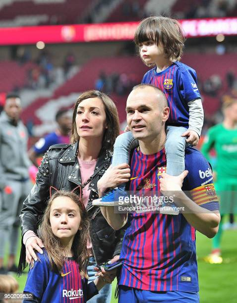 Andres Iniesta his wife Anna Ortiz and their children Paolo Andrea Iniesta Ortiz and Valeria Iniesta Ortiz are seen at the Spanish Copa del Rey Final...