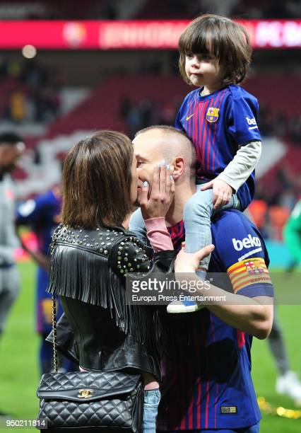 Andres Iniesta his wife Anna Ortiz and their son Paolo Andrea Iniesta Ortiz are seen at the Spanish Copa del Rey Final match between Barcelona and...