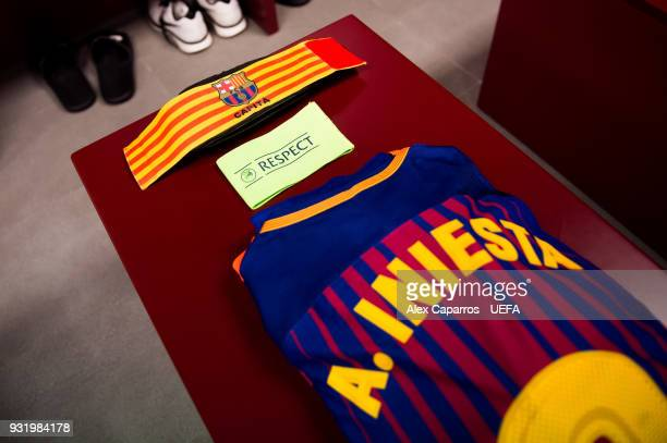 Andres Iniesta kit and captain armlet are ready in the FC Barcelona dressing room before the UEFA Champions League Round of 16 Second Leg match...