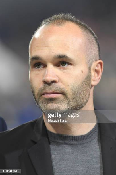 Andres Iniesta looks on prior to the international friendly match between Japan and Bolivia at Noevir Stadium Kobe on March 26 2019 in Kobe Hyogo...