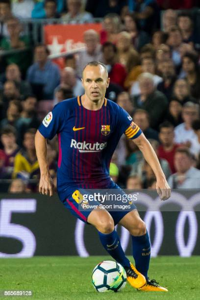 Andres Iniesta Lujan of FC Barcelona in action during the La Liga 201718 match between FC Barcelona and Malaga CF at Camp Nou on 21 October 2017 in...