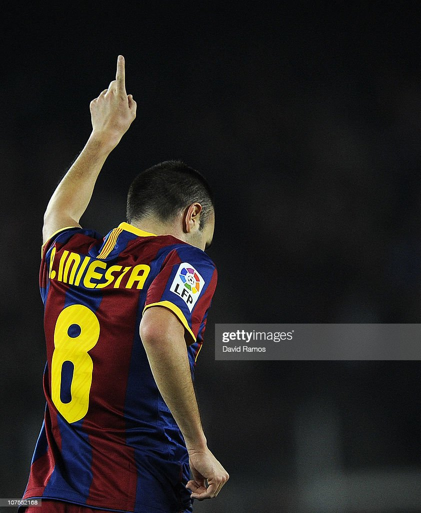 Andres Iniesta of Barcelona celebrates after scoring his goal during the La Liga match between Barcelona and Real Sociedad at Camp Nou Stadium on December 12, 2010 in Barcelona, Spain. Barcelona won 5-0.