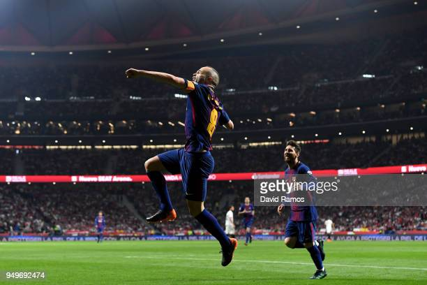 Andres Iniesta of Barcelona celebrates after scoring the teams fourth goal of the game during the Spanish Copa del Rey match between Barcelona and...