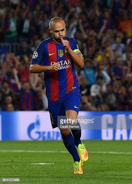 Andres Iniesta of Barcelona celebrates scoring his sides fourth goal during the UEFA Champions League Group C match between FC Barcelona and Celtic...