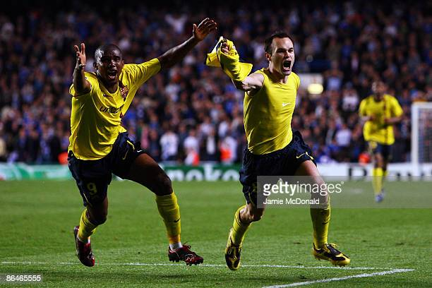 Andres Iniesta of Barcelona celebrates scoring in the final minutes during the UEFA Champions League Semi Final Second Leg match between Chelsea and...