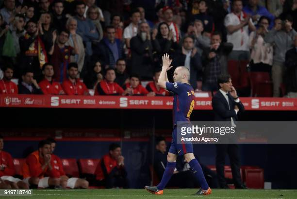 Andres Iniesta of Barcelona gestures during Copa del Rey Final soccer match between Sevilla and Barcelona at Wanda Metropolitano Stadium in Madrid...