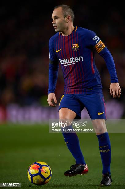 Andres Iniesta of Barcelona in action during the La Liga match between Barcelona and Deportivo de La Coruna at Camp Nou on December 17 2017 in...