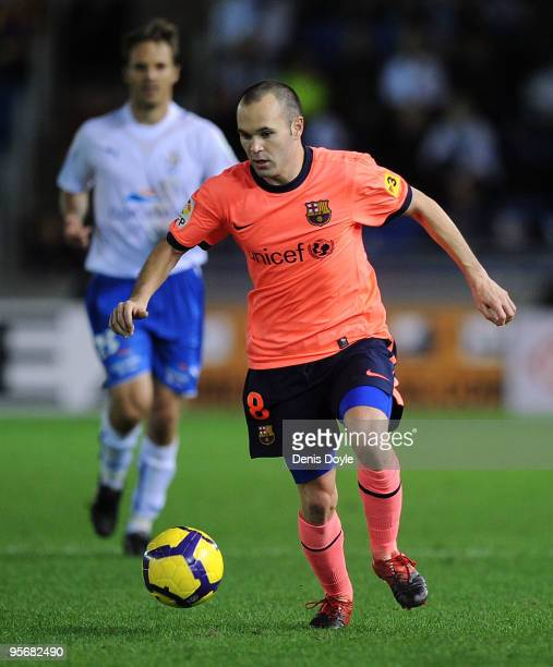 Andres Iniesta of Barcelona in action during the La Liga match between Tenerife and Barcelona at the Heliodoro Rodriguez Lopez stadium on January 10...