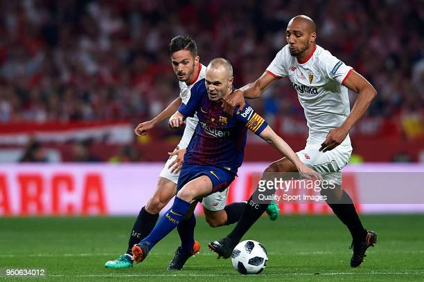 Andres Iniesta of Barcelona in action during the Spanish Copa del Rey Final match between Barcelona and Sevilla at Wanda Metropolitano on April 21...