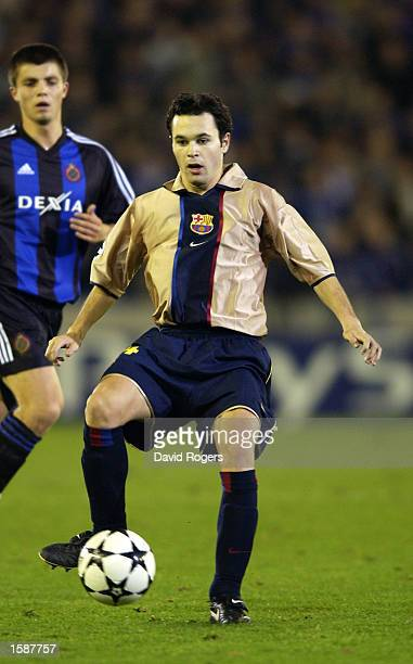 Andres Iniesta of Barcelona in action during the UEFA Champions League First Phase Group H match between Club Brugge and Barcelona on October 29 2002...