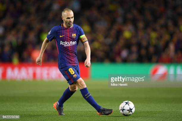 Andres Iniesta of Barcelona in action during the UEFA Champions League Quarter Final Leg One between FC Barcelona and AS Roma at Camp Nou on April 4...