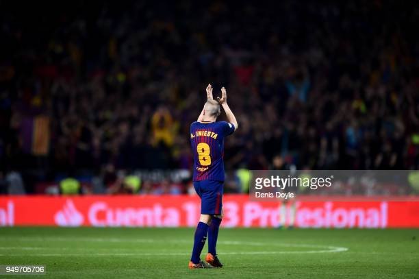 Andres Iniesta of Barcelona is subbed off in his last cup final during the Spanish Copa del Rey Final between Barcelona and Sevilla at Wanda...