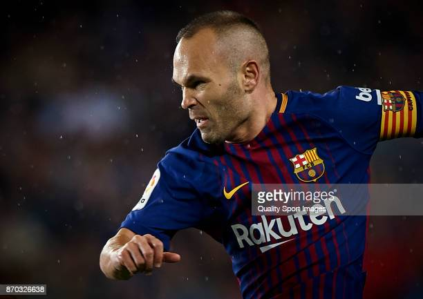 Andres Iniesta of Barcelona reacts during the La Liga match between Barcelona and Sevilla at Camp Nou on November 4 2017 in Barcelona Spain