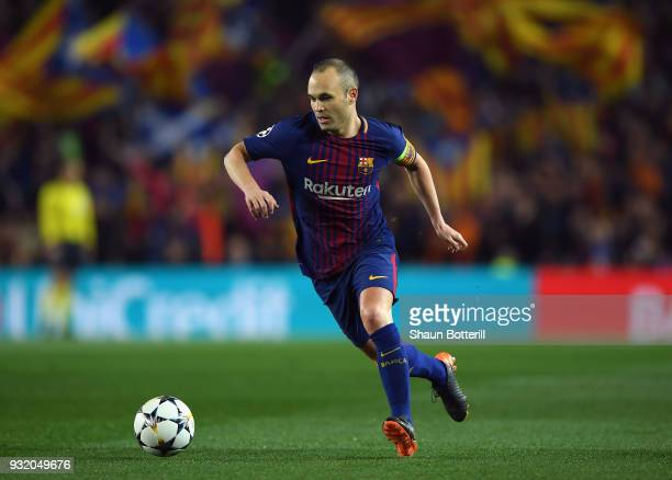 Andres Iniesta of Barcelona runs with the ball during the UEFA Champions League Round of 16 Second Leg match FC Barcelona and Chelsea FC at Camp Nou...
