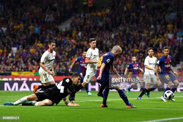 Andres Iniesta of Barcelona scores the teams fourth goal of the game during the Spanish Copa del Rey match between Barcelona and Sevilla at Wanda...