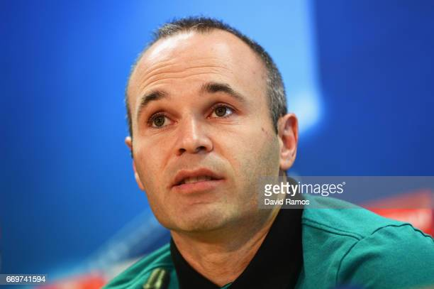 Andres Iniesta of Barcelona speaks during a FC Barcelona press conference on the eve of their UEFA Champions League quarter final second leg match...