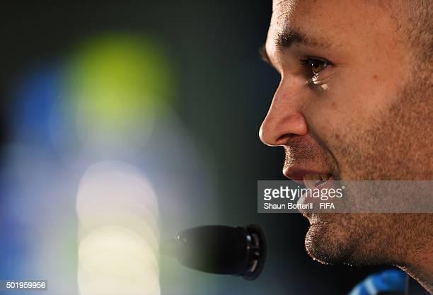 Andres Iniesta of Barcelona talks to the media during a press conference at International Stadium Yokohama on December 19 2015 in Yokohama Japan