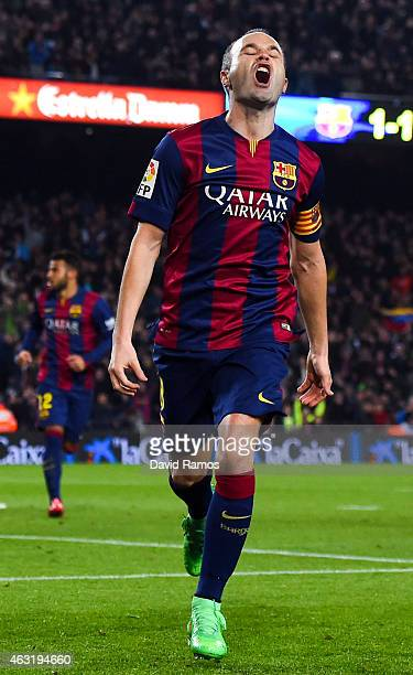 Andres Iniesta of FC Barcelona celebrates after scoring his team's second goal during the Copa del Rey Semi-Final first leg match between FC...