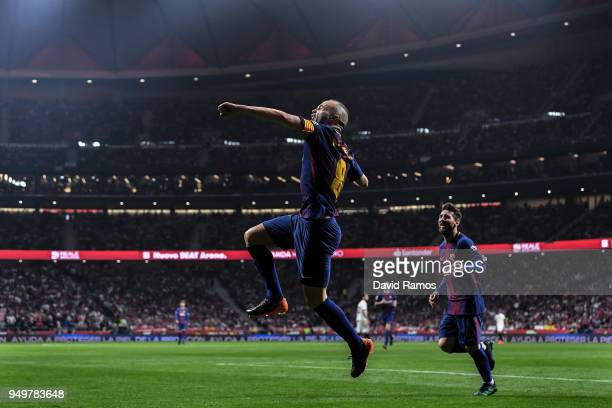 Andres Iniesta of FC Barcelona celebrates after scoring his team's fourth goal during the Spanish Copa del Rey Final match between Barcelona and...