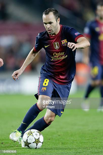 Andres Iniesta of FC Barcelona during the UEFA Champions League Group G match between FC Barcelona and Celtic FC at the Camp Nou Stadium on October...