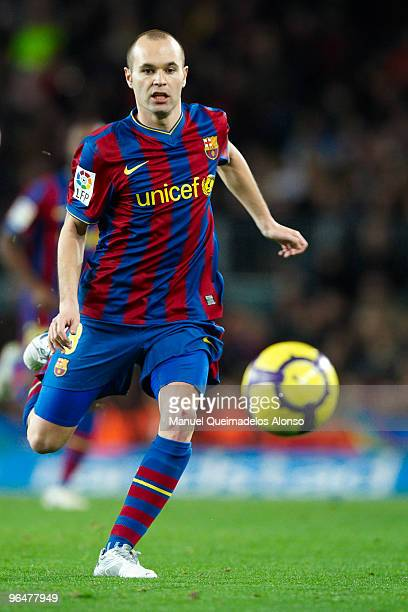 Andres Iniesta of FC Barcelona in action during the La Liga match between Barcelona and Getafe at Camp Nou on February 6 2010 in Barcelona Spain...