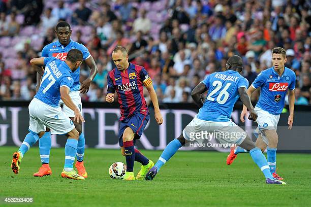 Andres Iniesta of FC Barcelona in action during the preseason friendly match between FC Barcelona and SSC Napoli on August 6 2014 in Geneva...