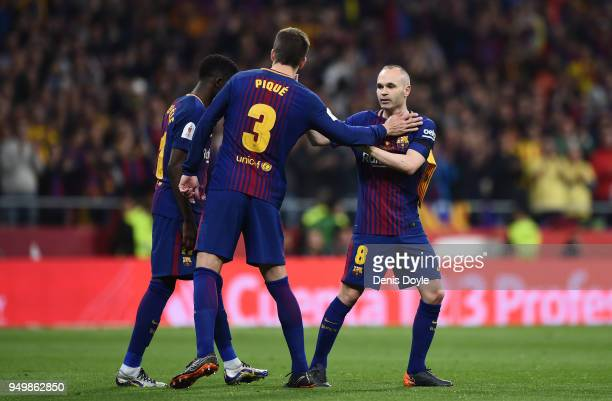 Andres Iniesta of FC Barcelona is subbed off during the Spanish Copa del Rey Final match between Barcelona and Sevilla at Wanda Metropolitano stadium...