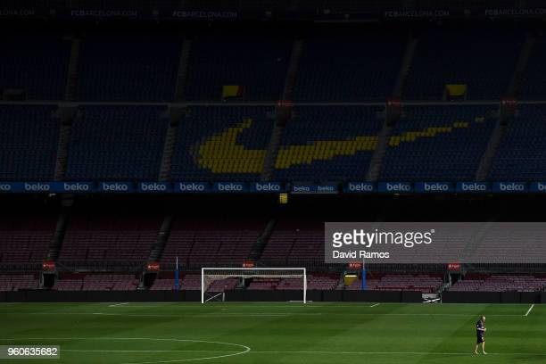Andres Iniesta of FC Barcelona leaves the pitch at the end of La Liga match between Barcelona and Real Sociedad at Camp Nou on May 20 2018 in...