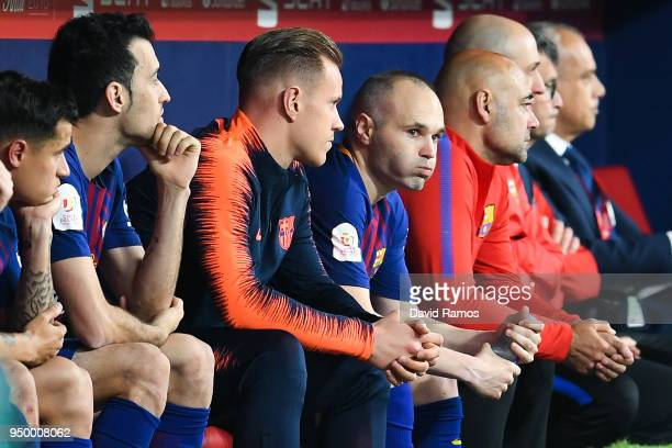 Andres Iniesta of FC Barcelona looks on after being subbed off during the Spanish Copa del Rey Final match between Barcelona and Sevilla at Wanda...