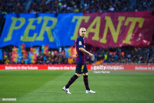 Andres Iniesta of FC Barcelona looks on during the La Liga match between Barcelona and Real Sociedad at Camp Nou on May 20 2018 in Barcelona Spain