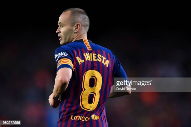 Andres Iniesta of FC Barcelona looks on during the La Liga match between Barcelona and Real Sociedad at Camp Nou on May 20, 2018 in Barcelona, Spain.