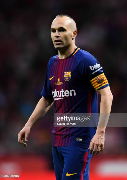 Andres Iniesta of FC Barcelona looks on during the Spanish Copa del Rey Final match between Barcelona and Sevilla at Wanda Metropolitano stadium on...