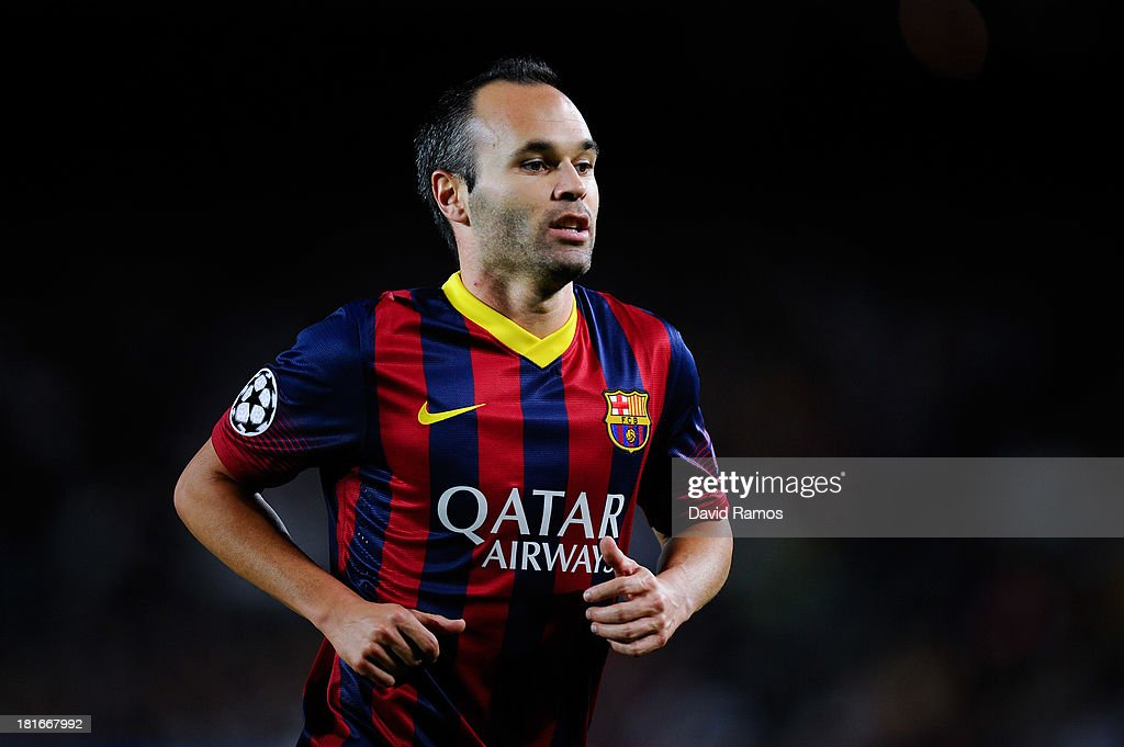 Andres Iniesta of FC Barcelona looks on during the UEFA Champions League Group H match between FC Barcelona and Ajax Amsterdam at the Camp Nou stadium on September 18, 2013 in Barcelona, Spain.