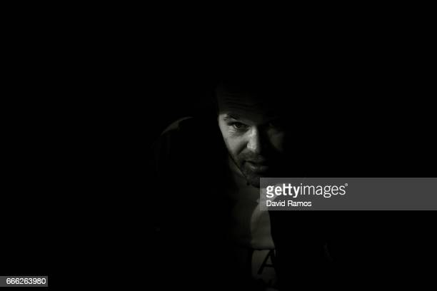 Andres Iniesta of FC Barcelona looks on prior to the kick off during the La Liga match between Malaga CF and FC Barcelona at La Rosaleda stadium on...
