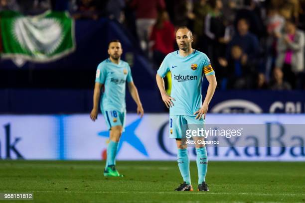 Andres Iniesta of FC Barcelona reacts during the La Liga match between Levante UD and FC Barcelona at Estadi Ciutat de Valencia on May 13 2018 in...