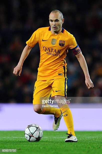 Andres Iniesta of FC Barcelona runs with the ball during the UEFA Champions League quarter final first leg match between FC Barcelona and Club...