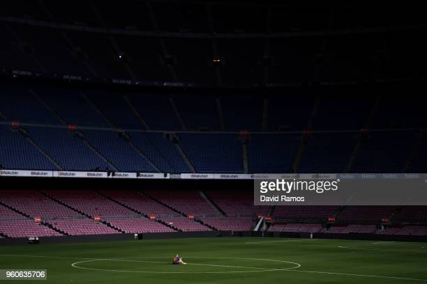Andres Iniesta of FC Barcelona sits on the pitch at the end of La Liga match between Barcelona and Real Sociedad at Camp Nou on May 20 2018 in...