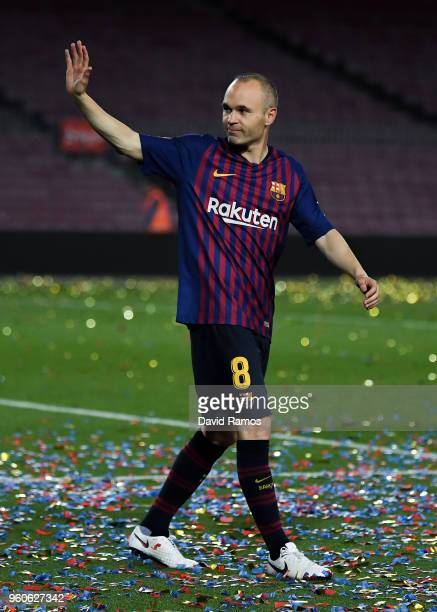 Andres Iniesta of FC Barcelona waves at the end of the La Liga match between Barcelona and Real Sociedad at Camp Nou on May 20 2018 in Barcelona Spain