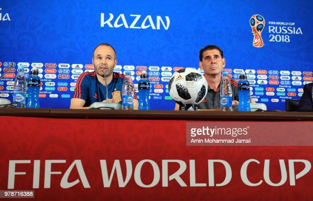 Andres Iniesta of Spain and head coach of Spain Fernando Hierro looks on during a press Conference before match 18 Between Iran Spain at Kazan Arena...