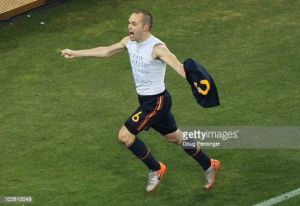 Andres Iniesta of Spain celebrates scoring the opening goal late into extra time during the 2010 FIFA World Cup South Africa Final match between...