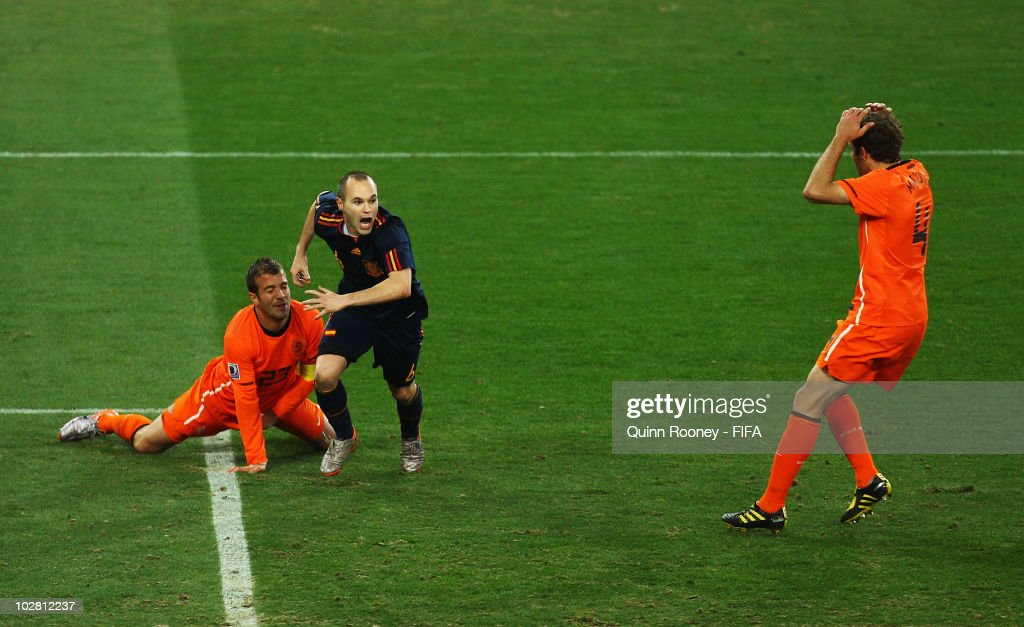 Andres Iniesta of Spain celebrates scoring the winning goal during the 2010 FIFA World Cup South Africa Final match between Netherlands and Spain at Soccer City Stadium on July 11, 2010 in Johannesburg, South Africa.