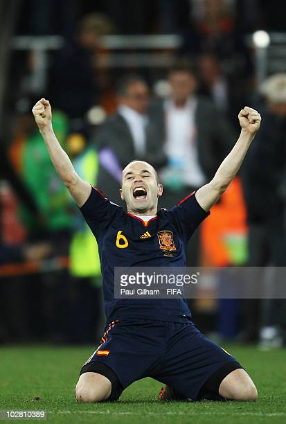 Andres Iniesta of Spain celebrates winning the 2010 FIFA World Cup South Africa Final match between Netherlands and Spain at Soccer City Stadium on...