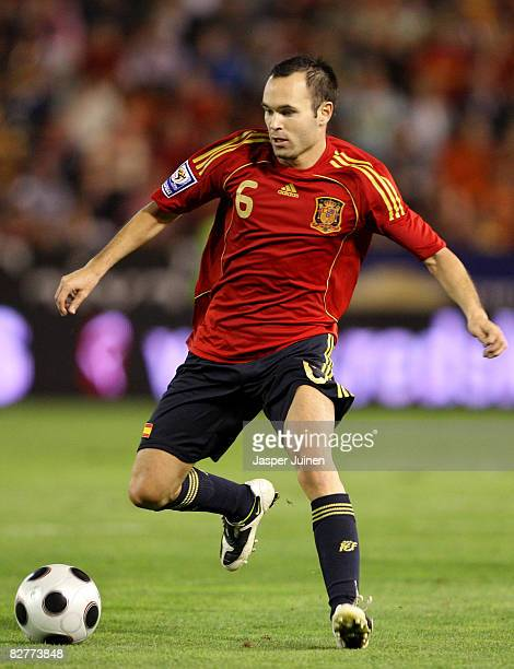 Andres Iniesta of Spain contols the ball during the FIFA2010 World Cup Qualifier match between Spain and Armenia at the Carlos Belmonte Stadium on...