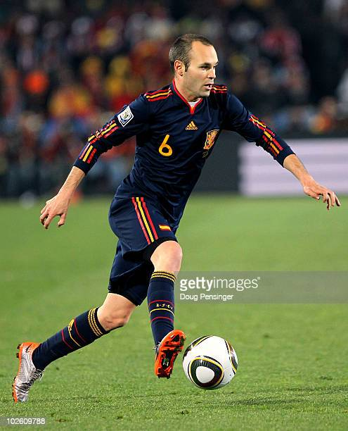 Andres Iniesta of Spain controls the ball during the 2010 FIFA World Cup South Africa Quarter Final match between Paraguay and Spain at Ellis Park...