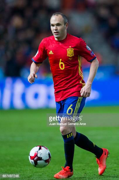 Andres Iniesta of Spain controls the ball during the FIFA 2018 World Cup Qualifier between Spain and Israel at Estadio El Molinon on March 24 2017 in...