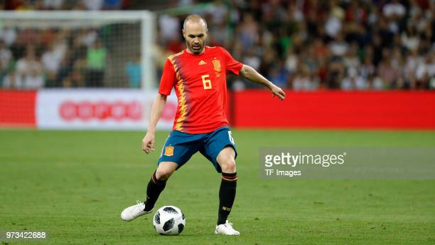 Andres Iniesta of Spain controls the ball during the friendly match between Spain and Tunisia at Krasnodar's stadium on June 9 2018 in Krasnodar...